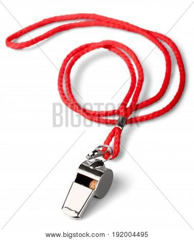 Sport sports whistle white background neck strap concept whistle blower game