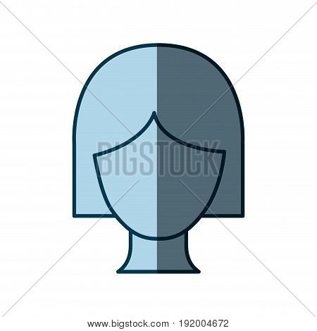 blue color shading silhouette faceless woman with short hairstyle vector illustration