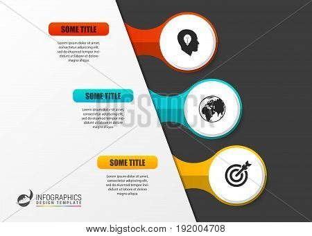 Infographic template. Diagram with three steps. Vector illustration