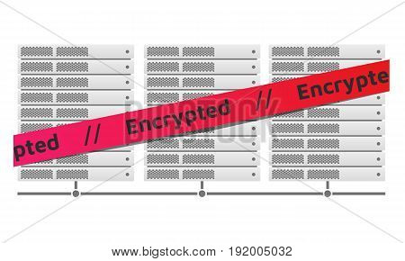Server racks. Red ribbon message Encrypted. Virus encryptor ransomware. Editable eps10 Vector. White background.