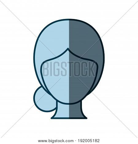 blue color shading silhouette faceless woman with collected hair vector illustration