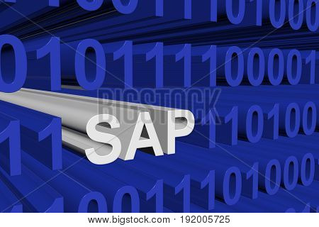 SAP in the form of binary code, 3D illustration