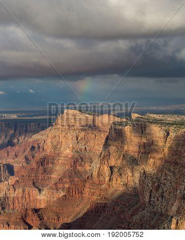 Awesome rainbow above South Rim of Grand Canyon, Arizona, United States