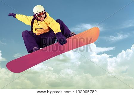 Flying board snow snowboarder his sport white