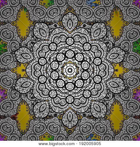 Background. Boho style flower seamless pattern. Vector Mandala. Tiled mandala design best for print fabric or papper and more.