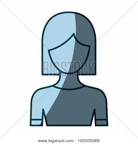 blue color shading silhouette faceless half body woman with straight short hairstyle vector illustration