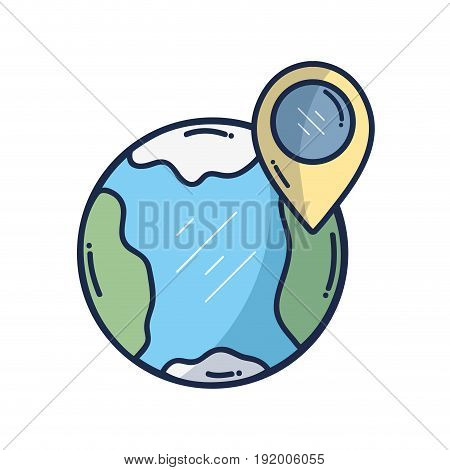 earth planet with point with location vector illustration