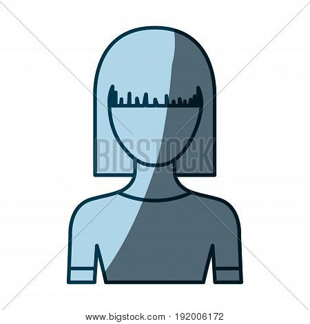 blue color shading silhouette faceless half body young woman with straight medium hairstyle vector illustration