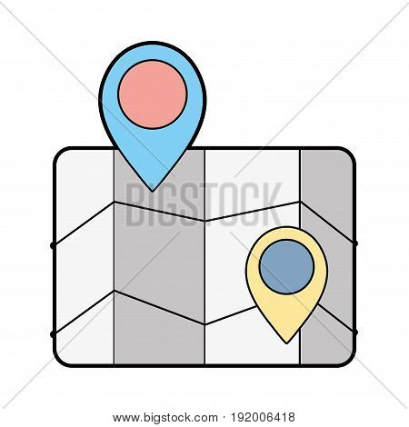 geography map with points to location vector illustration