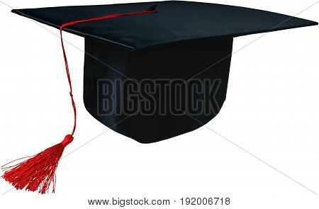 Black cap mortar board white background single object isolated on white copy space