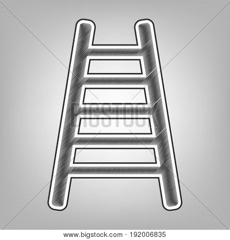 Ladder sign illustration. Vector. Pencil sketch imitation. Dark gray scribble icon with dark gray outer contour at gray background.
