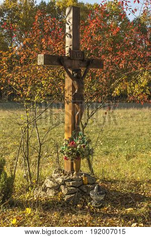 Cross roadside on a sunny autumn afternoon