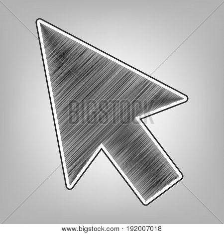 Arrow sign illustration. Vector. Pencil sketch imitation. Dark gray scribble icon with dark gray outer contour at gray background.