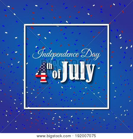 American Independence Day 4 th july. Greeting card design. National flag. Vector illustration. Patriotic symbol holiday poster. Happy independence day USA Celebration wallpaper.