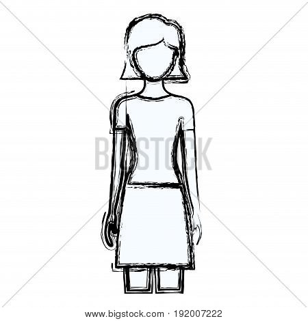 blurred silhouette faceless front view woman with skirt and short straight hairstyle vector illustration