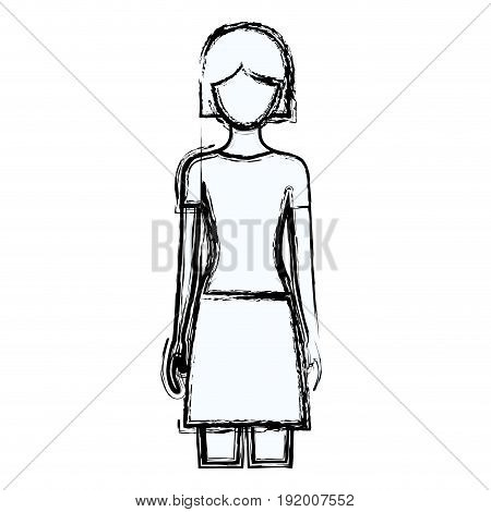 blurred silhouette faceless front view woman with skirt and short hairstyle vector illustration