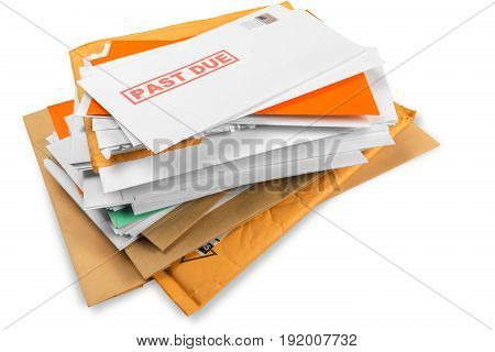 Utility bill envelopes due overdue white background