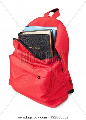 Book backpack bible isolated on white front view studio shot book bag