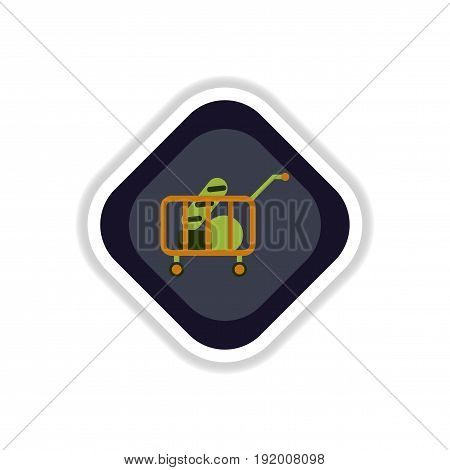 paper sticker on white background shop cart with food