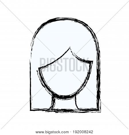 blurred silhouette faceless woman with straight medium hair vector illustration