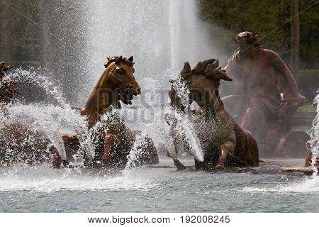 Apollo Fountain In The Castle Gardens Of Versailles
