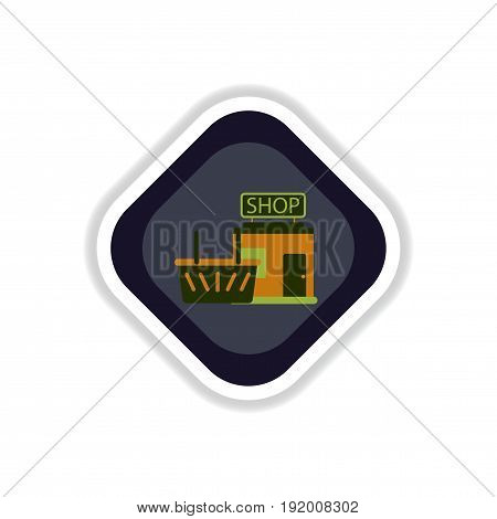 paper sticker on white background shop basket