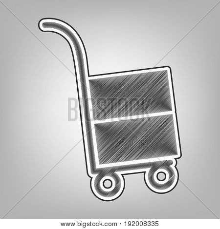 Hand truck sign. Vector. Pencil sketch imitation. Dark gray scribble icon with dark gray outer contour at gray background.