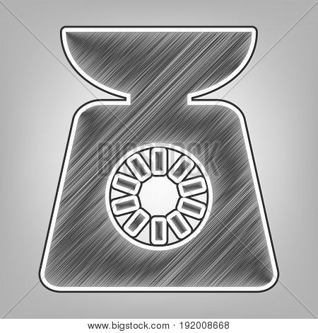 Kitchen scales sign. Vector. Pencil sketch imitation. Dark gray scribble icon with dark gray outer contour at gray background.
