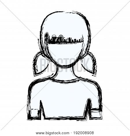 blurred silhouette faceless half body girl with pigtails hairstyle vector illustration