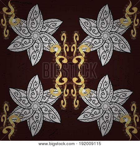 Traditional orient ornament. Pattern on brown background with golden elements. Classic vintage background. Classic vector golden pattern.
