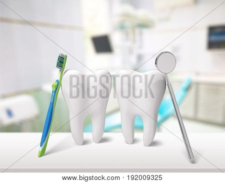 Big teeth dentist mirror toothbrush white background