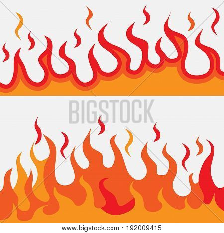 Flames of fire logo illustrations burning fire flat design image