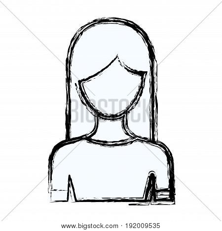 blurred silhouette faceless half body woman with long hairstyle vector illustration