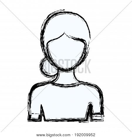 blurred silhouette faceless half body woman with bun collected hairstyle vector illustration