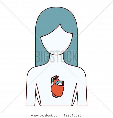color sections silhouette half body female person with heart system vector illustration