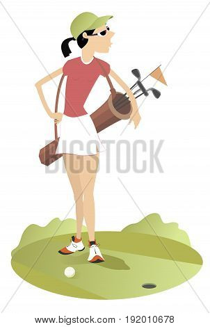 Good day for playing golf. Smiling young woman with a bag with golf clubs is on the golf course