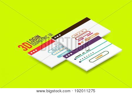 Isometric user interface design, semi flat modern style