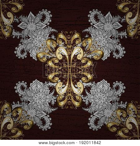 Classic vector golden pattern. Floral ornament brocade textile pattern glass metal with floral pattern on brown background with golden elements.