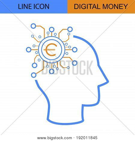 Digital Money Idea Flat Line vector icon.