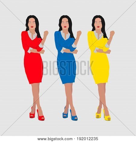Three girls in red blue and yellow dresses business woman slim design image