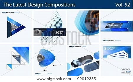 Abstract vector design elements for graphic layout. Modern business background template with colourful geometric shapes for internet, innovative technology. Mega set.