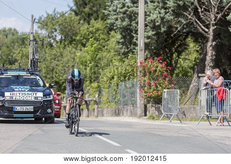 Bourgoin-Jallieu France - 07 June 2017: The British cyclist Christopher Froome of Team Sky riding during the time trial stage 4 of Criterium du Dauphine 2017. Froome is three times winner of Tour de France.