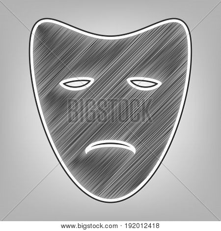 Tragedy theatrical masks. Vector. Pencil sketch imitation. Dark gray scribble icon with dark gray outer contour at gray background.