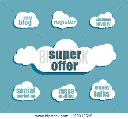 Marketing Concept. Words Super Offer . Design With Abstract Speech Bubble Set
