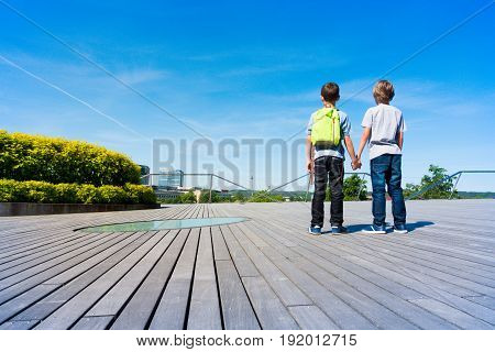 Back view of two caucasian boys holding hands and watching to the city