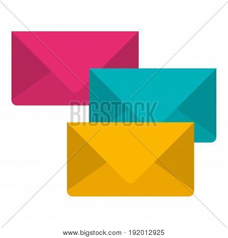 white background with colorful set of envelopes of mail vector illustration