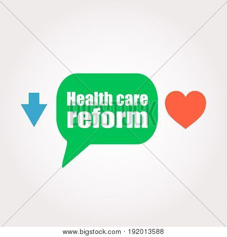 Health Care Reform Words. Health Concept . Speech Clouds Stickers, Arrow And Heart