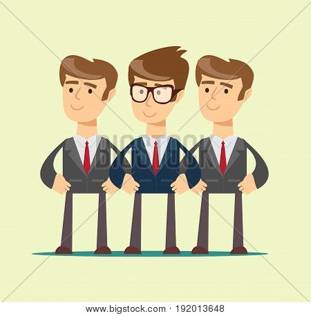 Group portrait of a professional business team. Stock vector illustration for poster, greeting card, website, ad, business presentation, advertisement design.