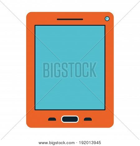 white background with orange cover on tablet vector illustration