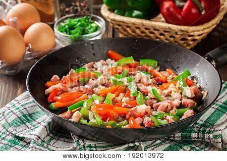 Frieding Ingredients For Preparing Omelette